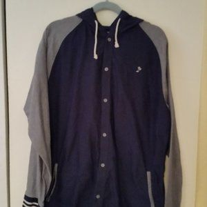 Vans blue & grey button up hooded